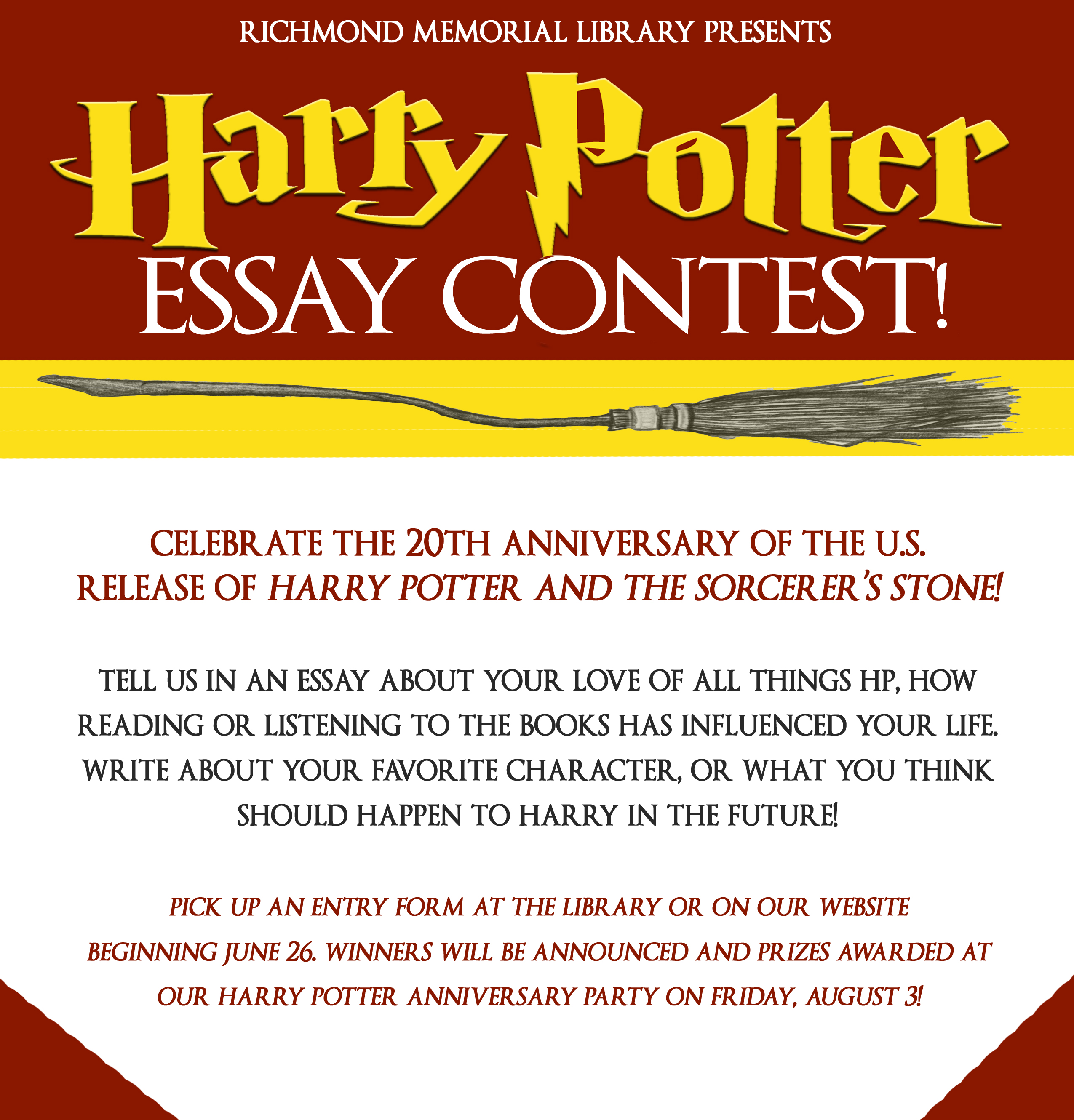 Harry Potter Essay Contest  Richmond Memorial Library Click Here To Download Entry Form Best Writing Service Websites also Sample Essay With Thesis Statement  Example Of Thesis Statement For Argumentative Essay